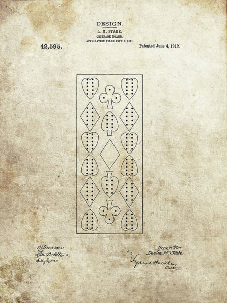 Drawing - 1912 Cribbage Board by Dan Sproul