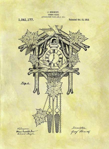 Cuckoo Drawing - 1912 Cuckoo Clock Patent by Dan Sproul