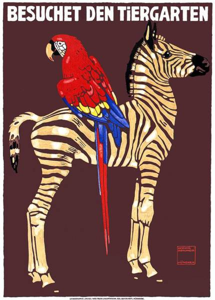 Wall Art - Digital Art - 1912 Ludwig Hohlwein Visit The Zoo Zebra Macaw Poster by Retro Graphics