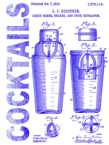 Cocktail Shaker Photograph - 1913 Cocktail Shaker Patent Blueprint by Jon Neidert