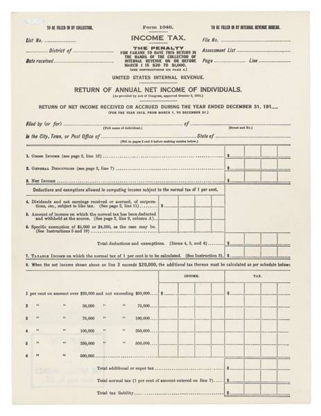20th Century Wall Art - Photograph - 1913 Federal Income Tax 1040 Form. The by Everett