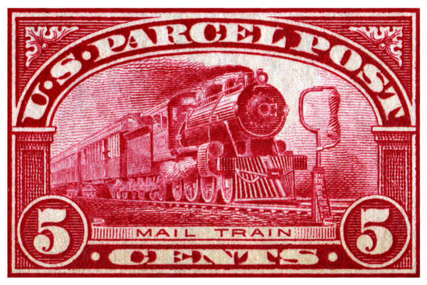 Model Trains Painting - 1913 Mail Train Stamp by Historic Image
