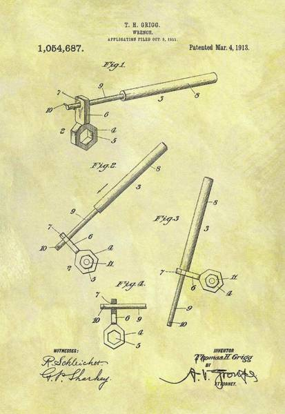 Adjustable Wrench Wall Art - Drawing - 1913 Wrench Patent by Dan Sproul