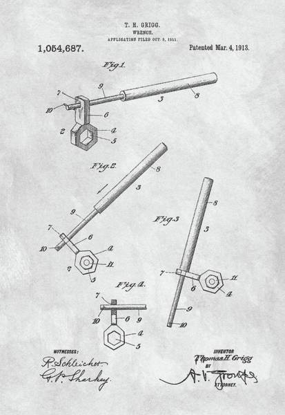 Adjustable Wrench Wall Art - Drawing - 1913 Wrench Patent Illustration by Dan Sproul