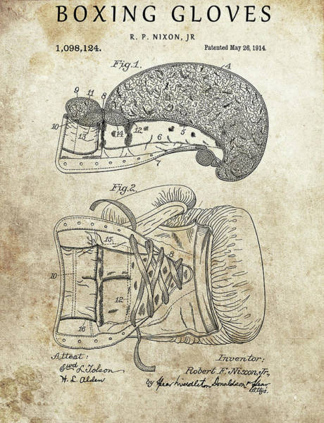 Wall Art - Drawing - 1914 Boxing Gloves by Dan Sproul