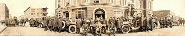 Fire Truck Photograph - 1914 Gary Indiana Fire Department Panoramic by Jon Neidert