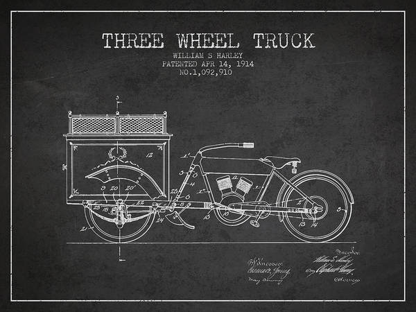 Wall Art - Digital Art - 1914 Three Wheel Truck Patent - Charcoal by Aged Pixel