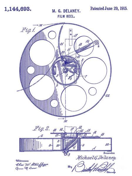 1915 Photograph - 1915 Film Reel Patent Blueprint by Jon Neidert