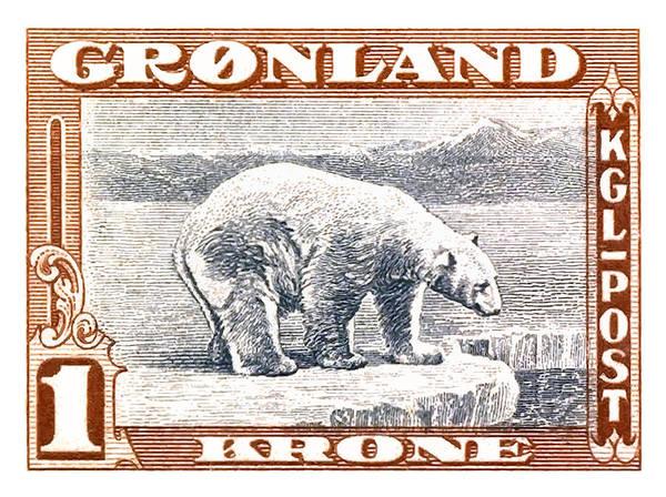 Wall Art - Digital Art - 1915 Greenland Polar Bear Postage Stamp by Retro Graphics