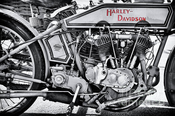 Harley Davidson Black And White Wall Art - Photograph - 1915 Harley Davidson 11f Monochrome by Tim Gainey