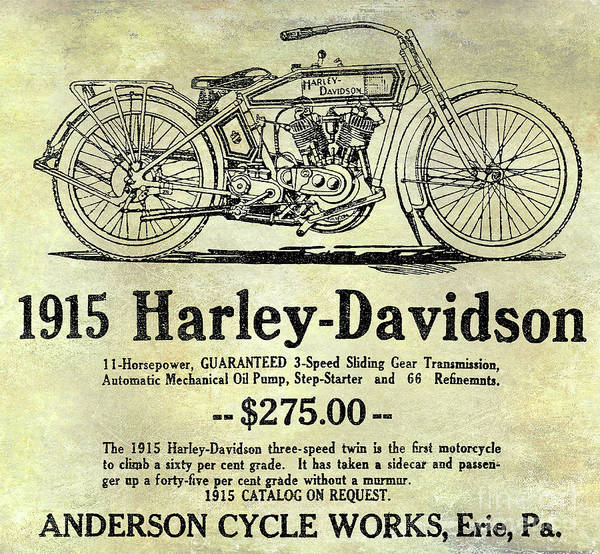 Victory Motorcycle Photograph - 1915 Harley Davidson Advertisement by Jon Neidert
