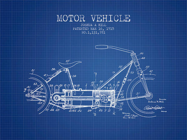 Wall Art - Digital Art - 1915 Motor Vehicle Patent - Blueprint by Aged Pixel
