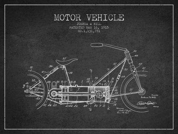 Wall Art - Digital Art - 1915 Motor Vehicle Patent - Charcoal by Aged Pixel
