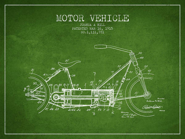 Wall Art - Digital Art - 1915 Motor Vehicle Patent - Green by Aged Pixel