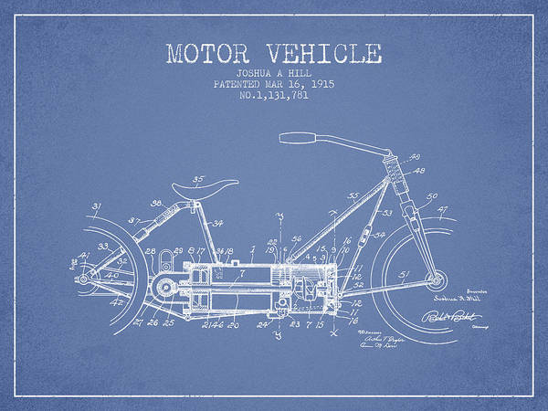 Wall Art - Digital Art - 1915 Motor Vehicle Patent - Light Blue by Aged Pixel
