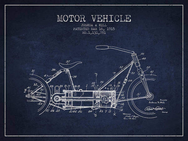 Wall Art - Digital Art - 1915 Motor Vehicle Patent - Navy Blue by Aged Pixel