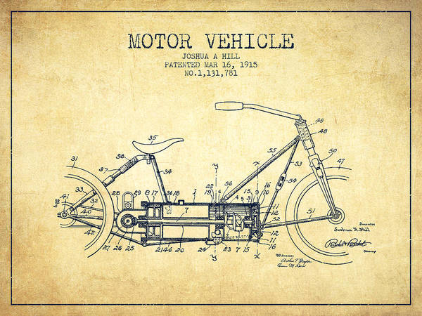 Wall Art - Digital Art - 1915 Motor Vehicle Patent - Vintage by Aged Pixel