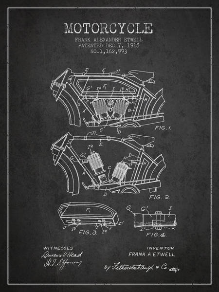 Wall Art - Digital Art - 1915 Motorcycle Patent 02 - Charcoal by Aged Pixel