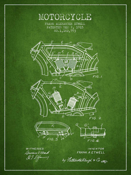 Wall Art - Digital Art - 1915 Motorcycle Patent 02 -  Green by Aged Pixel
