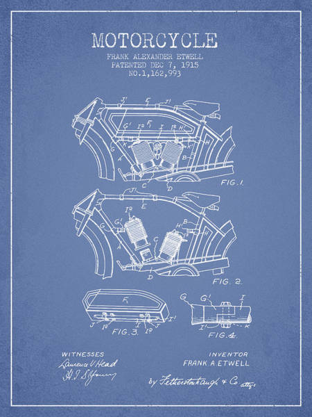 Wall Art - Digital Art - 1915 Motorcycle Patent 02 -  Light Blue by Aged Pixel