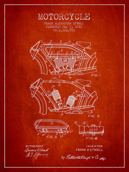 Wall Art - Digital Art - 1915 Motorcycle Patent 02 -  Red by Aged Pixel
