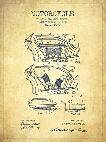Wall Art - Digital Art - 1915 Motorcycle Patent 02 -  Vintage by Aged Pixel