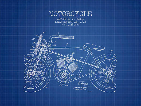 Wall Art - Digital Art - 1915 Motorcycle Patent -  Blueprint by Aged Pixel