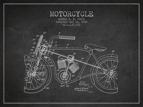 Wall Art - Digital Art - 1915 Motorcycle Patent - Charcoal by Aged Pixel