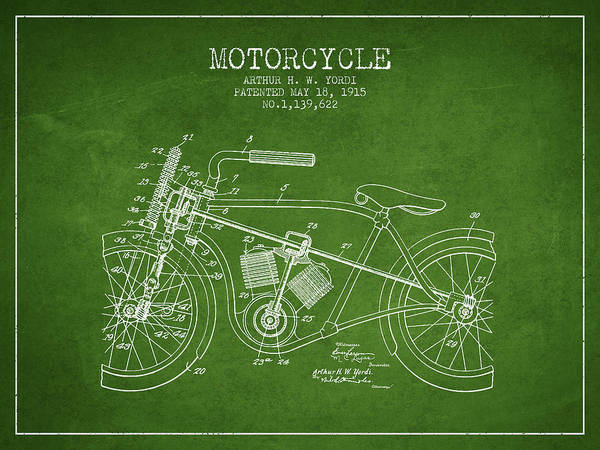 Wall Art - Digital Art - 1915 Motorcycle Patent - Green by Aged Pixel