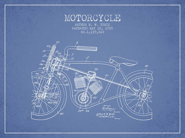 Wall Art - Digital Art - 1915 Motorcycle Patent - Light Blue by Aged Pixel