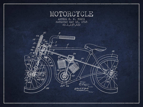 Wall Art - Digital Art - 1915 Motorcycle Patent - Navy Blue by Aged Pixel