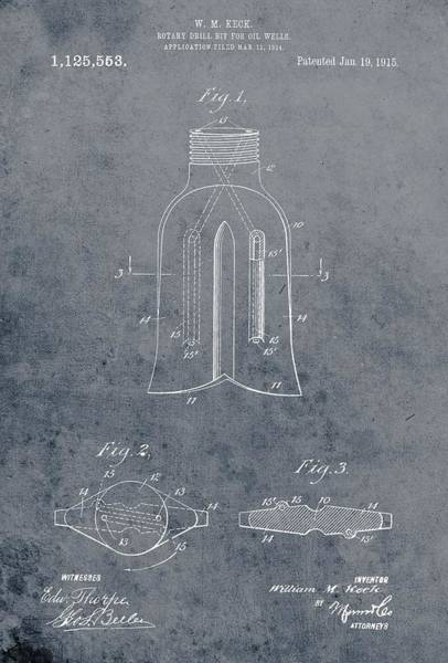 Petroleum Drawing - 1915 Oil Drill Bit Patent by Dan Sproul