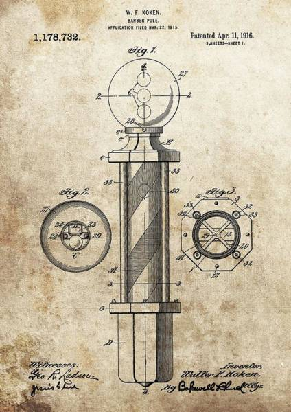 Wall Art - Drawing - 1916 Barber Pole Patent by Dan Sproul