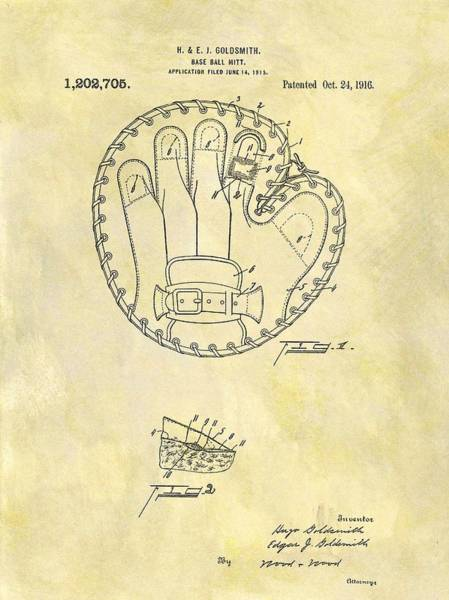 Babe Drawing - 1916 Baseball Glove Patent by Dan Sproul