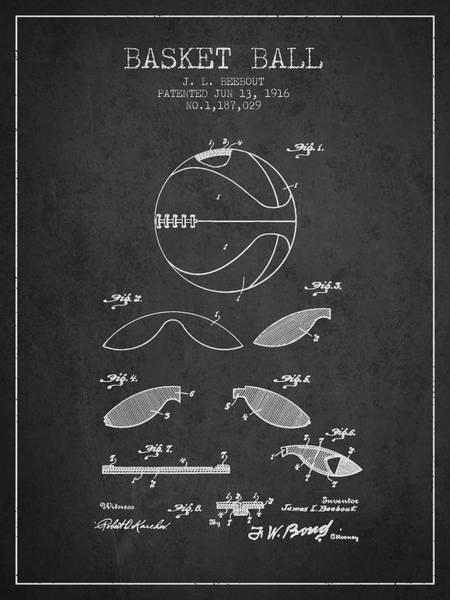 National Basketball Association Wall Art - Digital Art - 1916 Basket Ball Patent - Charcoal by Aged Pixel