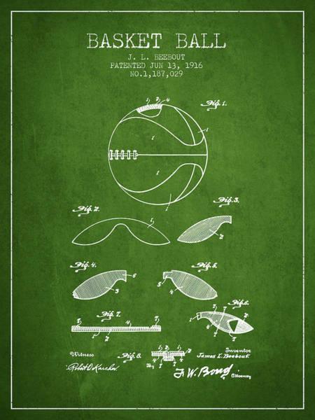 Wall Art - Digital Art - 1916 Basket Ball Patent - Green by Aged Pixel