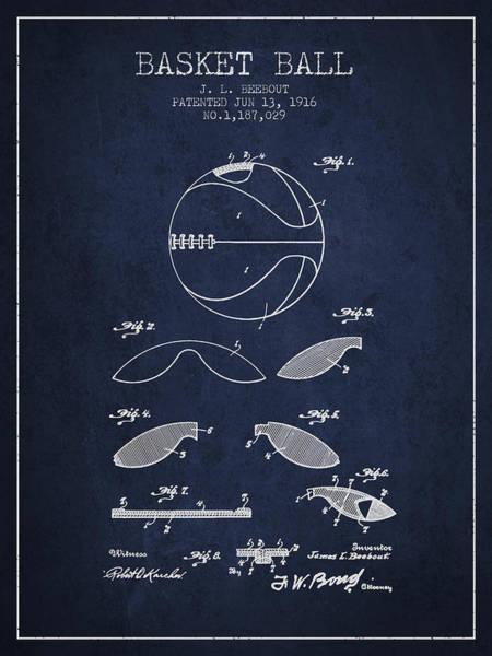 Hoop Wall Art - Digital Art - 1916 Basket Ball Patent - Navy Blue by Aged Pixel