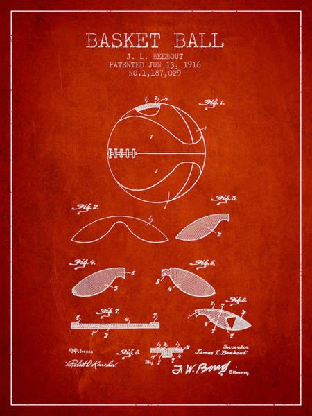 Wall Art - Digital Art - 1916 Basket Ball Patent - Red by Aged Pixel