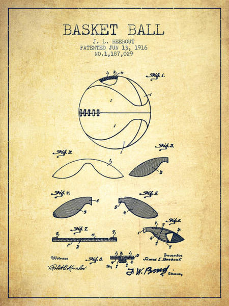 Association Digital Art - 1916 Basket Ball Patent - Vintage by Aged Pixel