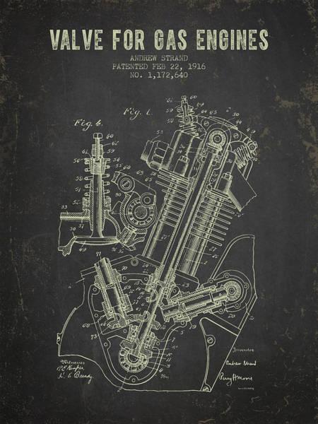 Blueprint Digital Art - 1916 Gas Engine Valve Patent - Dark Grunge by Aged Pixel