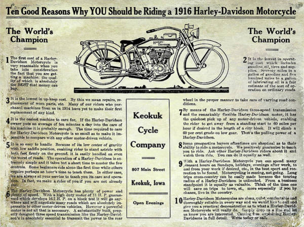 Knucklehead Wall Art - Photograph - 1916 Harley Davidson Advertisement by Jon Neidert