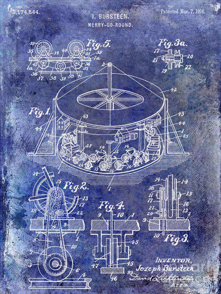 Merry Go Round Photograph - 1916 Merry Go Round Patent Blue by Jon Neidert