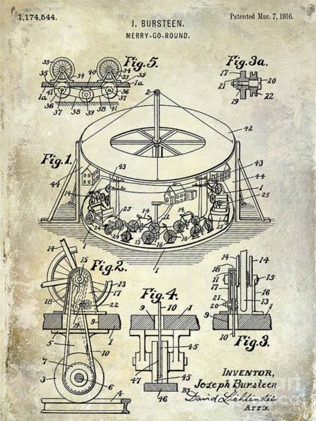 Merry Go Round Photograph - 1916 Merry Go Round Patent by Jon Neidert