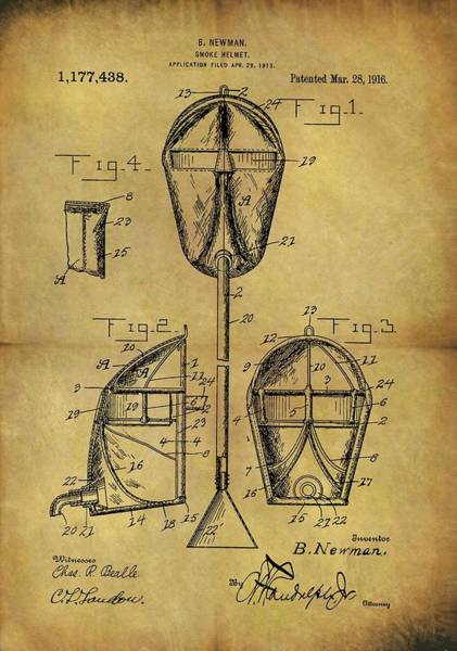 Drawing - 1916 Smoke Helmet Patent by Dan Sproul