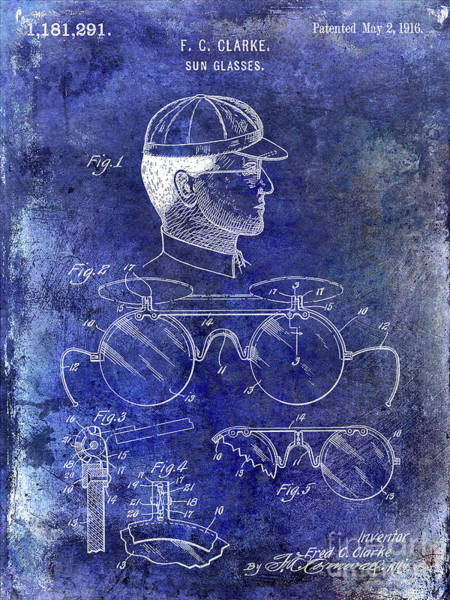 Wall Art - Photograph - 1916 Sunglasses Patent Blue by Jon Neidert