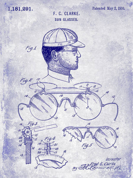 Wall Art - Photograph - 1916 Sunglasses Patent Blueprint by Jon Neidert