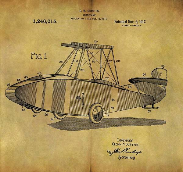 Vintage Airplane Drawing - 1917 Airplane Patent by Dan Sproul
