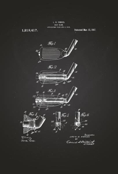 Artful Drawing - 1917 Golf Club Patent Drawing Chalkboard by Patently Artful