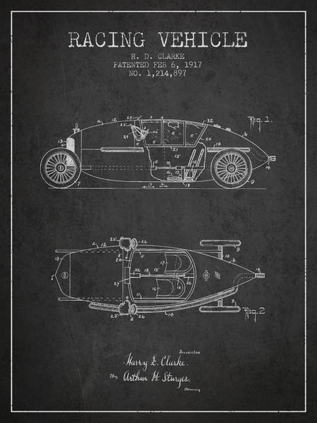 Wall Art - Digital Art - 1917 Racing Vehicle Patent - Charcoal by Aged Pixel