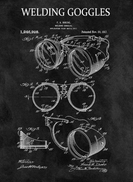 Punk Drawing - 1917 Welder Goggles by Dan Sproul